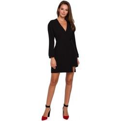 Textil Ženy Krátké šaty Makover K034 Zavinovací šaty se zapínáním na jeden knoflík - černé