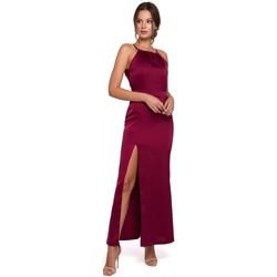 Textil Ženy Společenské šaty Makover K042 Maxi šaty s vázaným výstřihem - tmavě modré