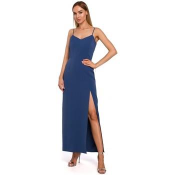 Textil Ženy Společenské šaty Moe M485 Maxi večerní šaty s vysokým rozparkem - modré