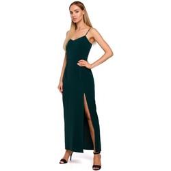 Textil Ženy Společenské šaty Moe M485 Maxi večerní šaty s vysokým rozparkem - zelené
