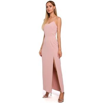 Textil Ženy Šaty Moe M485 Maxi večerní šaty s vysokým rozparkem - pudrové