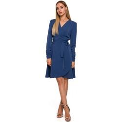 Textil Ženy Krátké šaty Moe M487 Zavinovací šaty s nabíranými rukávy - modré