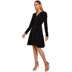 Textil Ženy Krátké šaty Moe M487 Zavinovací šaty s nabíranými rukávy - černé