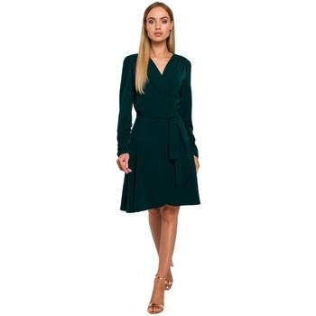 Textil Ženy Krátké šaty Moe M487 Zavinovací šaty s nabíranými rukávy - zelené