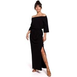 Textil Ženy Šaty Be B146 Maxi šaty na ramínka - černé