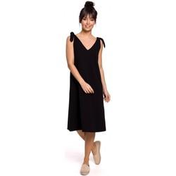 Textil Ženy Krátké šaty Be B148 Trapézové šaty s vázáním - černé