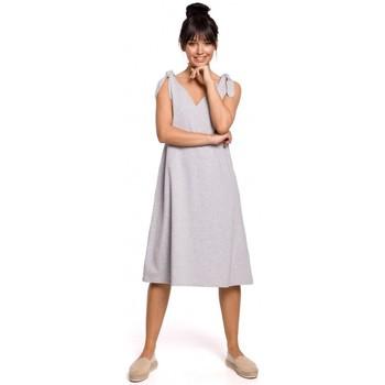 Textil Ženy Krátké šaty Be B148 Trapézové šaty s vázáním - šedé