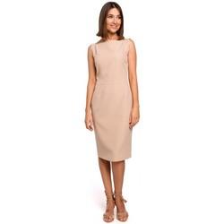 Textil Ženy Šaty Style S216 Tužkové šaty bez rukávů - béžové