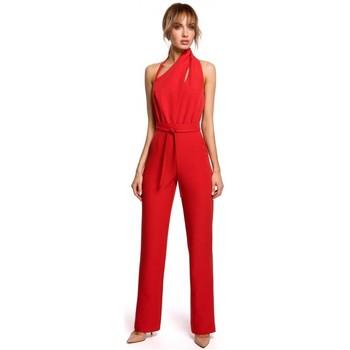 Textil Ženy Overaly / Kalhoty s laclem Moe M502 Elegantní overal s asymetrickým výstřihem - černý