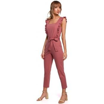 Textil Ženy Overaly / Kalhoty s laclem Moe M507 Kombinéza s volánky - tmavě modrá