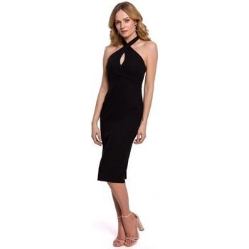 Textil Ženy Šaty Makover K043 Šaty s vázáním za krk - černé