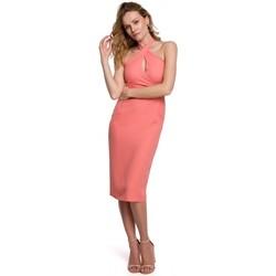 Textil Ženy Krátké šaty Makover K043 Šaty s vázaným výstřihem - oranžové