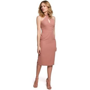 Textil Ženy Krátké šaty Makover K043 Šaty s vázaným výstřihem - růžové