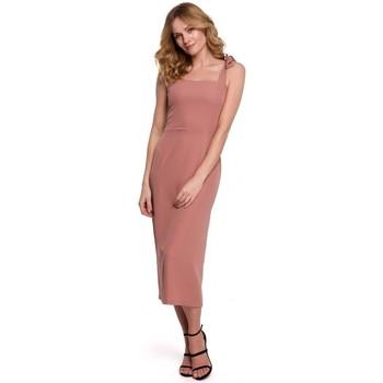 Textil Ženy Šaty Makover K046 Midi šaty se zavazovacími ramínky - růžové