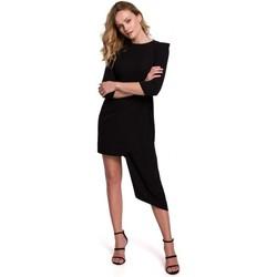 Textil Ženy Krátké šaty Makover K047 Asymetrické pouzdrové šaty - černé