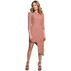 Textil Ženy Krátké šaty Makover K047 Asymetrické pouzdrové šaty - růžové