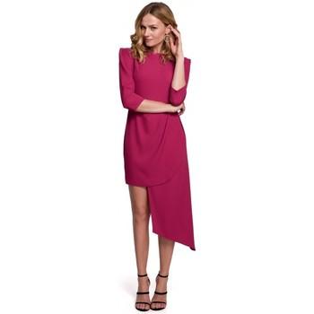 Textil Ženy Šaty Makover K047 Asymetrické pouzdrové šaty - švestka