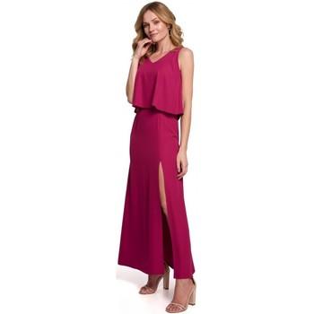 Textil Ženy Společenské šaty Makover K048 Maxi šaty s volánkem - švestka
