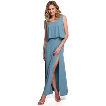 Textil Ženy Šaty Makover K048 Maxi šaty s volánkem - nebesky modré