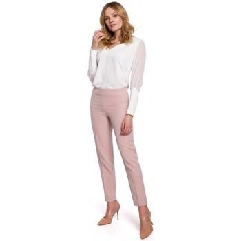 Textil Ženy Mrkváče Makover K055 Kalhoty s úzkými nohavicemi - krepová růžová