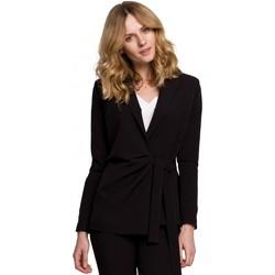 Textil Ženy Obleková saka Makover K056 Sako s páskem na zavazování - černé