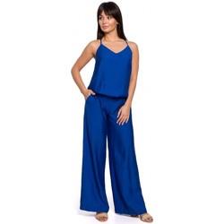 Textil Ženy Overaly / Kalhoty s laclem Be B155 Kombinéza se širokými nohavicemi - královská modř