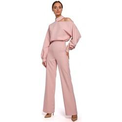 Textil Ženy Overaly / Kalhoty s laclem Moe M528 Kombinéza s rukávy Bishop - pudrová