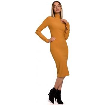 Textil Ženy Společenské šaty Moe M542 Pletené šaty s rolákem - zelené