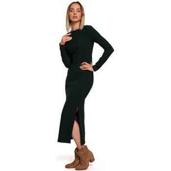 Textil Ženy Společenské šaty Moe M544 Maxi šaty s rozparkem na nohou - zelené