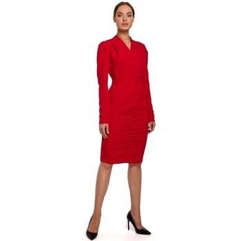 Textil Ženy Krátké šaty Moe M547 Maskáčové šaty s nabíraným předním dílem - červené