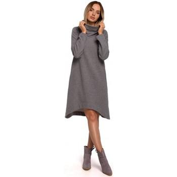 Textil Ženy Krátké šaty Moe M551 Pletené šaty s asymetrickým lemem - šedé