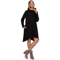 Textil Ženy Krátké šaty Moe M551 Pletené šaty s asymetrickým lemem - černé