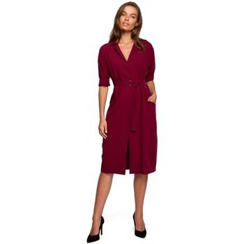 Textil Ženy Krátké šaty Style S230 Midi košilové šaty s kapsami s nášivkami - bordó