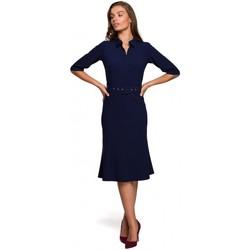 Textil Ženy Krátké šaty Style S231 Límeček s páskem s přezkou - tmavě modrý
