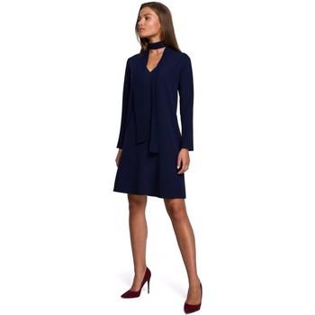 Textil Ženy Krátké šaty Style S233 Šaty s šifonovým šátkem - tmavě modré