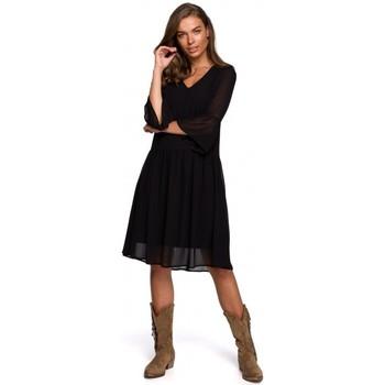 Textil Ženy Krátké šaty Style S236 Jednoduché šifonové šaty - tmavě modré