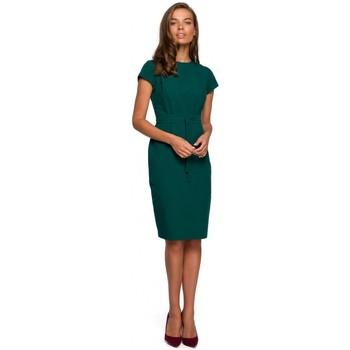 Textil Ženy Krátké šaty Style S239 Tužkové šaty s páskem na zavázání - tmavě modré