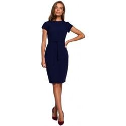 Textil Ženy Krátké šaty Style S239 Tužkové šaty s páskem na zavázání - červené