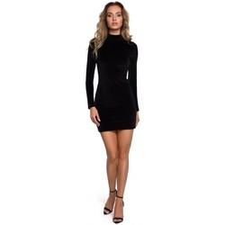 Textil Ženy Krátké šaty Moe M558 Sametové mini šaty s rolákem - černé