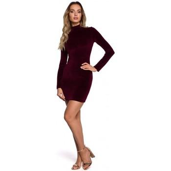 Textil Ženy Krátké šaty Moe M558 Sametové mini šaty s rolákem - bordó