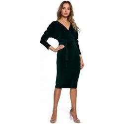 Textil Ženy Krátké šaty Moe M561 Sametové zavinovací šaty - zelené