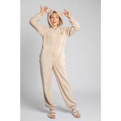 Textil Ženy Overaly / Kalhoty s laclem Lalupa LA006 Chlupatý pletený jednodílný overal - cappuccino
