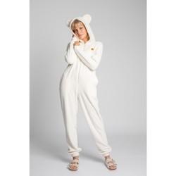 Textil Ženy Overaly / Kalhoty s laclem Lalupa LA006 Fluffy Knit Onepiece Onesie - ecru