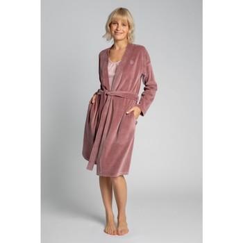 Textil Ženy Pyžamo / Noční košile Lalupa LA009 Sametový župan s páskem na zavazování - krepová růžová