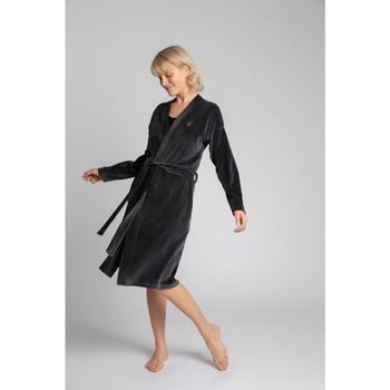 Textil Ženy Pyžamo / Noční košile Lalupa LA009 Sametový župan s páskem na zavazování - grafitový