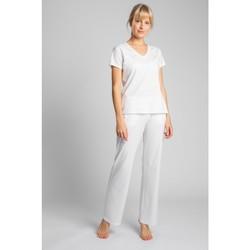 Textil Ženy Trička s krátkým rukávem Lalupa LA014 Bavlněný top s výstřihem do V - ecru barva