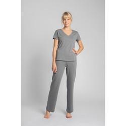 Textil Ženy Trička s krátkým rukávem Lalupa LA014 Bavlněný top s výstřihem do V - šedý