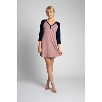 Textil Ženy Krátké šaty Lalupa LA018 Bavlněné tričko na spaní Colourblock - tmavě modré