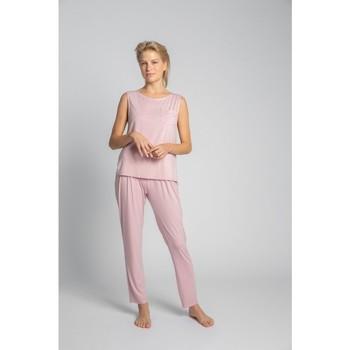 Textil Ženy Halenky / Blůzy Lalupa LA022 Viskózový top bez rukávů s náprsní kapsou - růžový