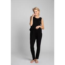 Textil Ženy Pyžamo / Noční košile Lalupa LA025 Viskózové pyžamové kalhoty - černé
